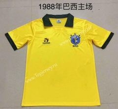 Retro Version 1988 Brazil Home Yellow Thailand Soccer Jersey AAA-AY