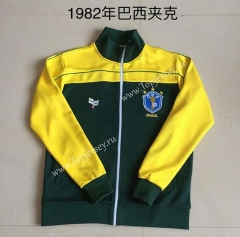Retro Version 1982 Brazil Yellow&Green Thailand Soccer Jacket-AY