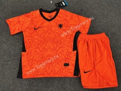 2020 European Cup Netherlands Home Orange Kids/Youth Soccer Uniform