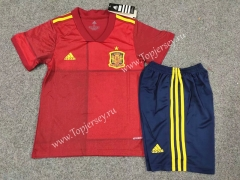 2020 European Cup Spain Home Red Kids/Youth Soccer Uniform
