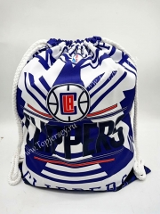 Los Angeles Clippers White&Purple Basketball Drawstring Bag