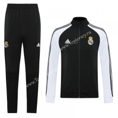 2020-2021 Real Madrid Black Thailand Training Soccer Jacket Uniform-LH