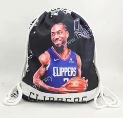 Los Angeles Clippers Black&White Basketball Drawstring Bag-2