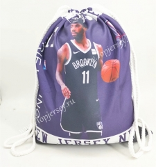 Brooklyn Nets Purple Basketball Drawstring Bag-11