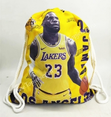Los Angeles Lakers Yellow Basketball Drawstring Bag-23