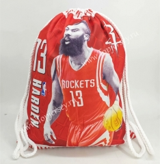 Houston Rockets Red Basketball Drawstring Bag-13