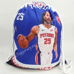 Detroit Pistons Blue Basketball Drawstring Bag-25