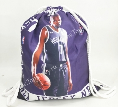 Brooklyn Nets Purple Basketball Drawstring Bag-7