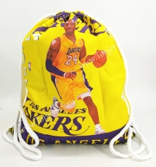 Los Angeles Lakers Yellow Basketball Drawstring Bag-24