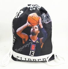 Los Angeles Clippers Black Basketball Drawstring Bag-13