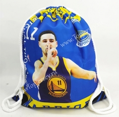 Golden State Warriors Blue Basketball Drawstring Bag-11