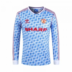 Retro Version 1990-1992 Manchester United Away Blue&White LS Thailand Soccer Jersey AAA