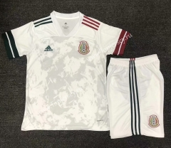 2020-2021 Mexico Away White Soccer Uniform