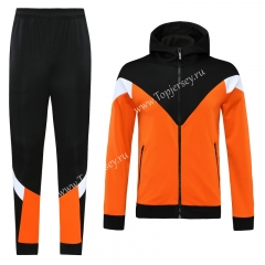 Without Logo Orange&Black Thailand Soccer Jacket Uniform With Hat-LH