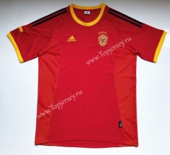 Retro Version 2002 Spain Home Red Thailand Soccer Jersey AAA-912