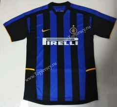 Retro Version 2002-2003 Inter Milan Home Blue&Black Thailand Soccer Jersey AAA-912