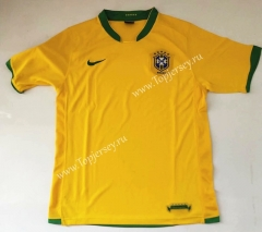 Retro Version 2006 Brazil Home Yellow Thailand Soccer Jersey AAA-912