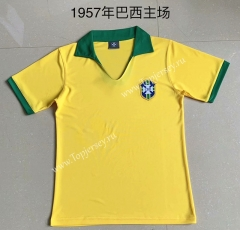 Retro Version 1957 Brazil Home Yellow Thailand Soccer Jersey AAA-XY
