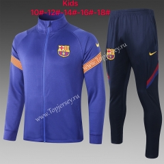2020-2021 Barcelona Camouflage Blue Kids/Youth Soccer Jacket Uniform -815