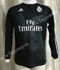 Retro Version 2014-2015 Real Madrid 2nd Away Black LS Thailand Soccer Jersey AAA-SL
