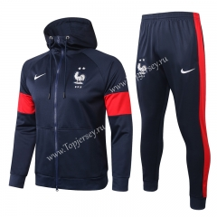 2020-2021 France Royal Blue Thailand Soccer Jacket Uniform With Hat-815