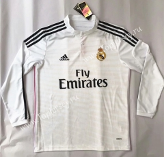 Retro Version 2014-2015 Real Madrid Home White LS Thailand Soccer Jersey AAA-SL