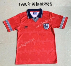 Retro Version 1990 England Away Red Thailand Soccer Jersey AAA-709