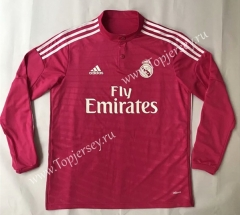 Retro Version 2014-2015 Real Madrid Away Pink LS Thailand Soccer Jersey AAA-SL