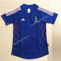 Retro Version 2002 France Blue Thailand Soccer Jersey AAA