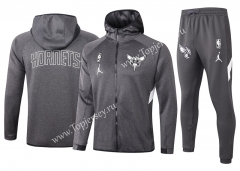 2020-2021 NBA Charlotte Hornets Gray Jacket Uniform With Hat-815