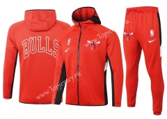2020-2021 NBA Chicago Bulls Red Jacket Uniform With Hat-815