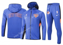2020-2021 NBA New York Knicks Camouflage Blue Jacket Uniform With Hat-815