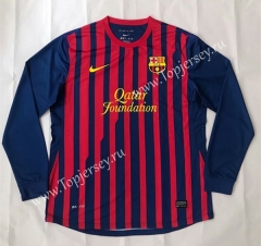 Retro Version 2011-2012 Barcelona Home Red&Blue LS Thailand Soccer Jersey AAA-SL
