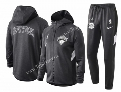 2020-2021 NBA New York Knicks Gray Jacket Uniform With Hat-815