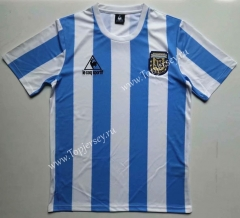 Retro Version 1986 Argentina Home Blue and White Thailand Soccer Jersey AAA-912