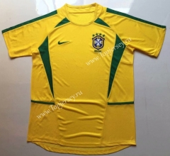 Retro Version 2002 Brazil Home Yellow Thailand Soccer Jersey AAA-912