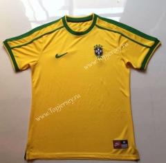 Retro Version 1998 Brazil Home Yellow Thailand Soccer Jersey AAA-912