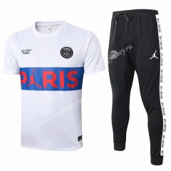 2020-2021 Jordan Paris SG White Short-sleeved Thailand Soccer Tracksuit -815