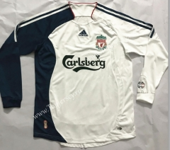 Retro Version 2006-2007 Liverpool Away White LS Thailand Soccer Jersey AAA-510