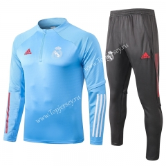 2020-2021 Real Madrid Blue Thailand Soccer Tracksuit-815