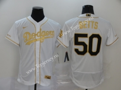 Los Angeles Dodgers White (Gold) #50 Baseball Jersey