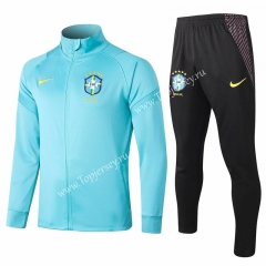 2020-2021 Brazil Blue Thailand Soccer Jacket Uniform-815
