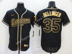 Los Angeles Dodgers Black&Gold #35 Baseball Jersey