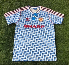 Retro Version 1992 Manchester United Away Blue Thailand Soccer Jersey AAA-503