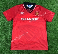Retro Version 1994-1996 Manchester United Home Red Thailand Soccer Jersey AAA-503