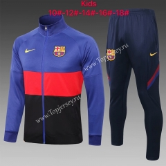 2020-2021 Barcelona Camouflage Blue Kids/Youth Soccer Jacket Uniform-815