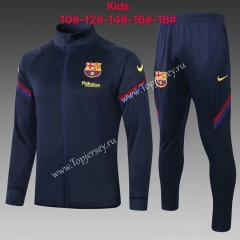 2020-2021 Barcelona Royal Blue Kids/Youth Soccer Jacket Uniform-815