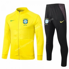 2020-2021 Brazil Yellow Thailand Soccer Jacket Uniform-815