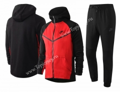 2020-2021 Black (Red Sleeve) Thailand Soccer Jacket Uniform With Hat-815