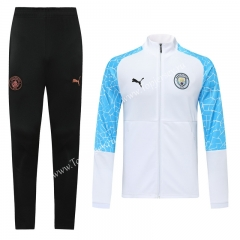 2020-2021 Manchester City White Traning Thailand Soccer Jacket Uniform-LH